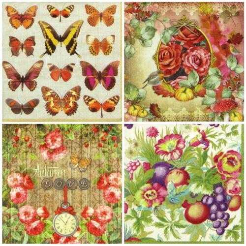 4x Paper Napkins for Decoupage Decopatch Craft Autumn Mix