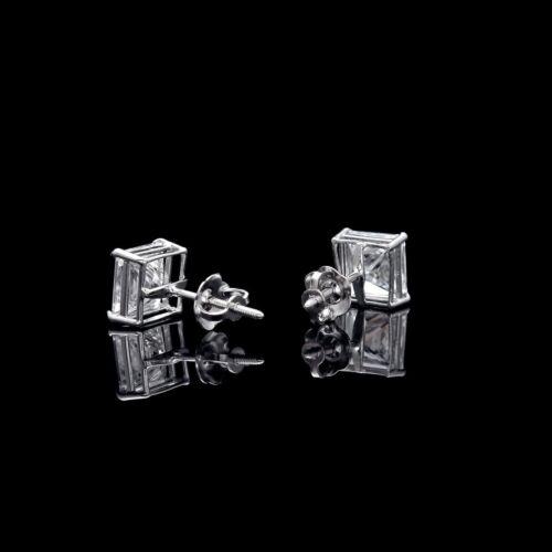 4.00CT Princess Created Diamond Square Stud Earrings 14K White Gold Screw-Back