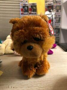 "2015 Ty Beanie Babies Barley Puppy Dog Plush 6/"" Stuffed Animal New With Tags New"