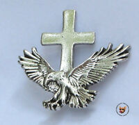 American Eagle And Cross Christian Vest Pewter Pin Made In Usa
