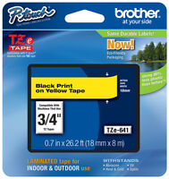 Brother 3/4 (18mm) Black On Yellow P-touch Tape For Pt1800, Pt-1800 Label Maker