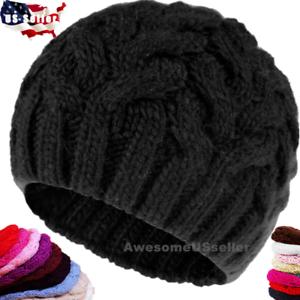 Femmes-Hommes-Hiver-Chaud-Fleece-Knit-Beanie-Cap-Ski-chapeau-chapeaux-neige-Caps-skull-Cuff