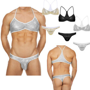 8d389d2e51 Image is loading Mens-Sequins-G-String-Bra-Set-Shiny-Underwear-