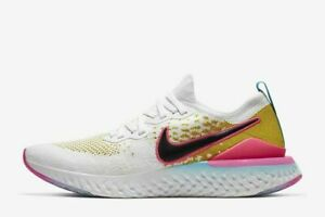 Details about Nike Epic React Flyknit 2 Men's Running Shoes CI7583 100  White Black Pink NEW