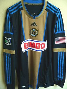official photos e04d0 77dc4 Details about MLS Adidas 2013 Philadelphia Union Soccer Authentic Long  Sleeve Jersey L NWT