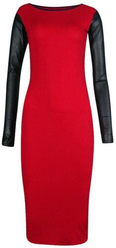 New Ladies Long Pu Sleeve Midi Party  Dress 8-26