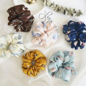 Women-Summer-Floral-Hair-Scrunchies-Elastic-Dance-Sports-Scrunchie-Bun-Ring-TR