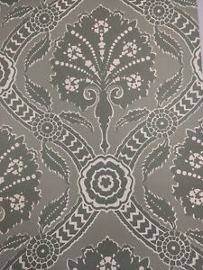 Details About Sold As A Lot Of 6 Vintage Wallpaper Green Damask Large Print By Motif