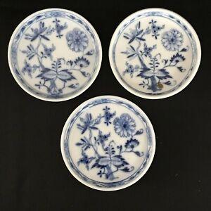 Antique-German-Meissen-Porcelain-SET-3-BLUE-ONION-ROUND-BUTTER-PATS-2-3-4-034