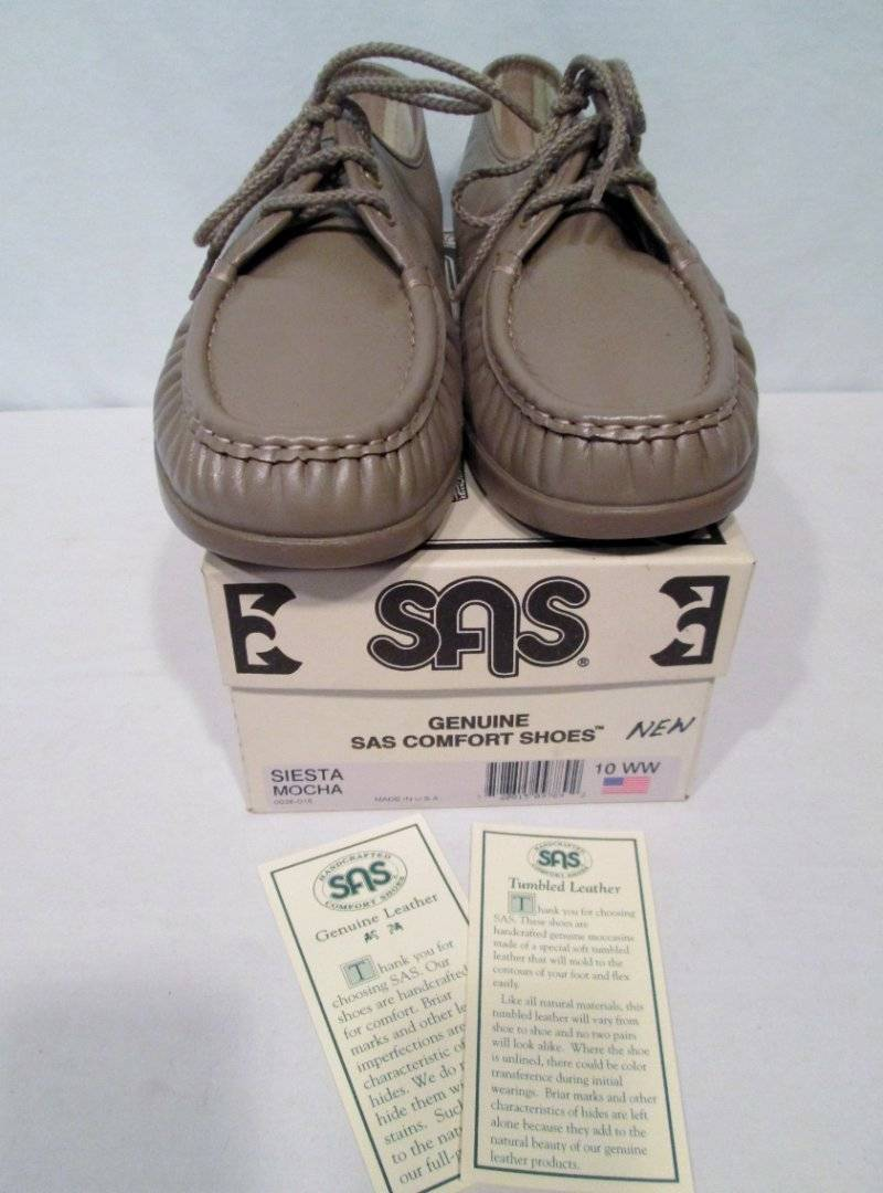 NIB NEW NEW NEW SAS Lace Up schuhe Siesta Mocha Beige Leather Loafers 10WW d4e130