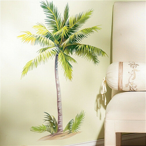 """WALLIES PALM TREE wall stickers MURAL 6 decals tropical leaves decor 32"""" tall"""