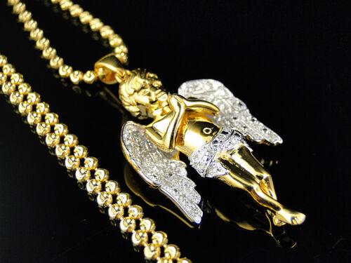 Yellow Gold Finish Mini Angel Cherub .25Ct Genuine Diamond Pendant /& Chain 1.50