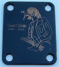 Engraved Etched GUITAR NECK PLATE Fender Size - KURT COBAIN Nirvana BLACK