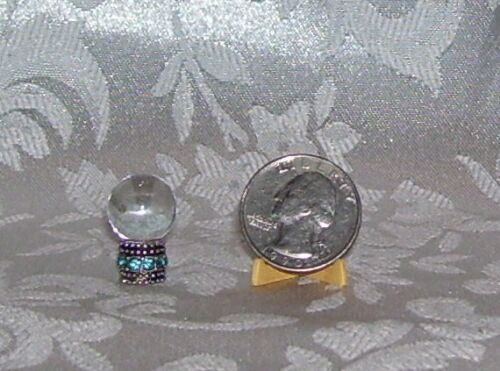DOLLHOUSE SIZE CUSTOM MADE CRYSTAL BALL #3 FOR GYPSY RHINESTONE BASE 7//8/""