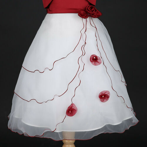 Apple Red//White Christmas Holiday Flower Girl Dress Bolero Jacket 2 3//4 5//6 8 10