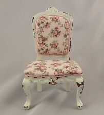 Dollhouse Miniature Shabby Chic Side Chair with Tiny Rose Print Fabric