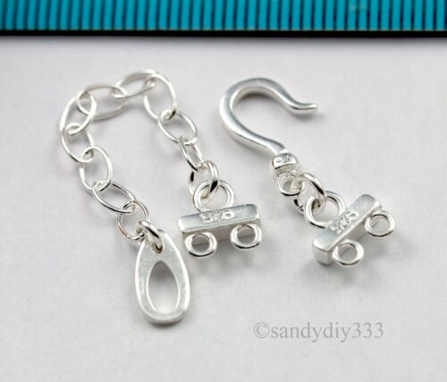 1x STERLING SILVER 2-strand END CONNECTOR with HOOK CLASP CHAIN #1461