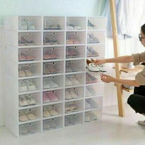 Foldable-Plastic-Transparent-Shoe-Box-Storage-Clear-Organizer-Stackable-Boxes
