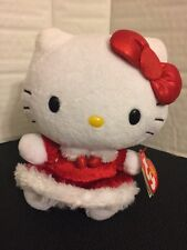 """TY Sanrio HELLO KITTY IN RED CHERRY DRESS 6"""" Plush Toy NEW With Tag"""