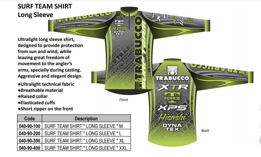 TRABUCCO NEW 2018 9 SURF TEAM SHIRT . long and short sleeve available