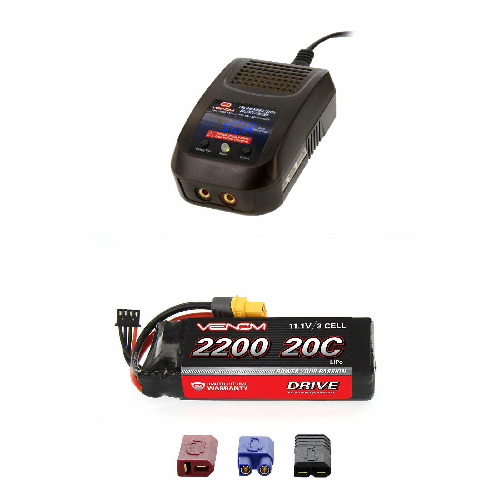 Venom 20C 3S 2200mAh 11.1V LiPo Battery and Sport Charger Combo