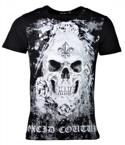 Totenkopf Skull Roses schwarz T-Shirt Oxcid Couture