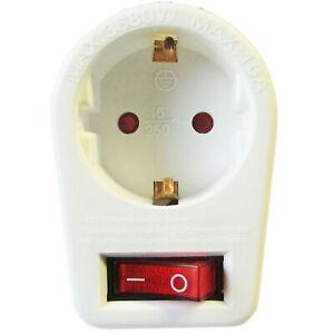 5 Stuck Zwischensteckdose Steckdose Mit Beleuchtetem Schalter Steckdosenadapter Ebay