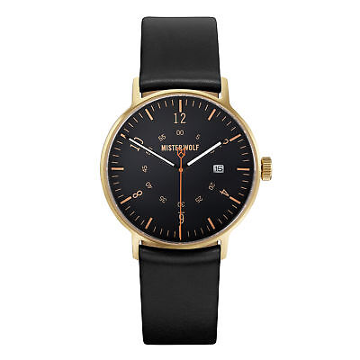 NEW Gold 39mm watch with black leather band by Mister Wolf