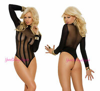 Black Opaque Long Sleeve Teddy Striped Mesh Bodysuit Lace Collar Snap Crotch Os
