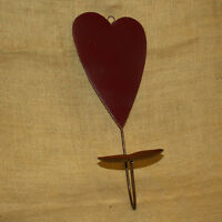 Heart Metal Pillar Candle Wall Sconce Burgundy Rustic Country Home Decor