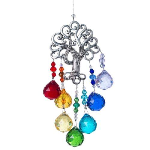 Rainbow Suncatcher Chakra Crystal Ball Tree of Life Prism Hanging Pendant Decor