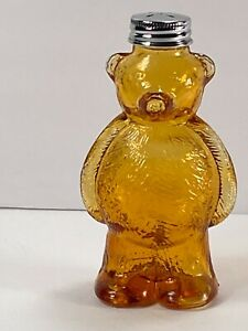 1950's Depression Glass Teddy Bear Salt Shaker. Amber, Stainless Steel Top