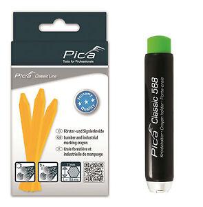 Pica-SET-12x-Eco-Signierkreide-gelb-Kreidehalter-12er-Forstkreide-Halter