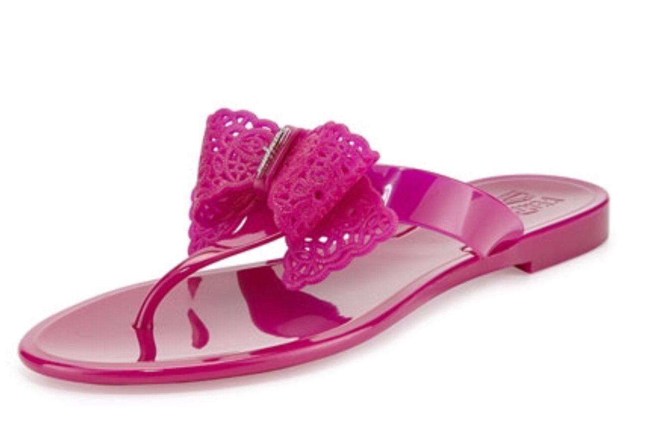 Salvatore Ferragamo  Pandy Lace-Bow Jelly Thong Sandals Size 8 Flip Flops