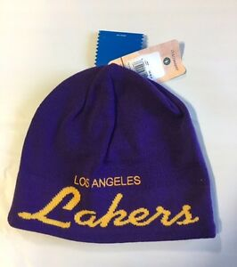 2e7e514977c98 LA Lakers Knit Beanie Toque Skull Cap Winter Hat NEW NBA - ADIDAS ...