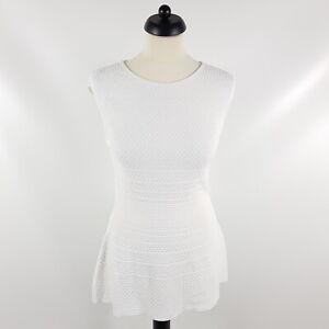 Marc-Cain-Minikleid-Damen-Gr-38-N3-Weiss-Strick-Kurz-Kleid-Viskose-Stretch