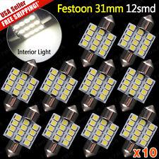 "10x 6000K White 12SMD LED MAP/DOME INTERIOR LIGHTS BULBS/BULB 31MM FESTOON 1.22"""