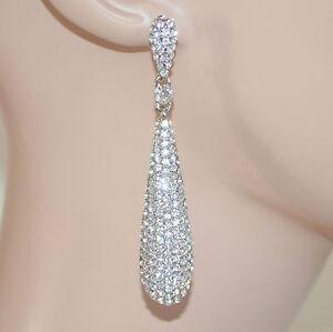 ORECCHINI-CERIMONIA-ARGENTO-donna-strass-cristalli-sposa-brillanti-pendenti-E59