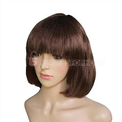 High Quality Brown BOB Short Straight Wig Party Cosplay Ball Wigs Hairpiece New