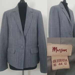 Ladies-WOOL-PINSTRIPE-Grey-amp-Pink-Blazer-Sz-16-Jacket-Career-Work-Smart