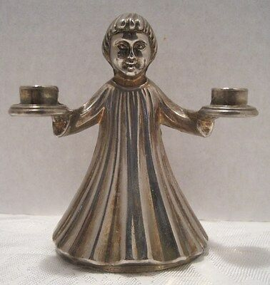 "Angel Choir Girl Mini Candle Holder Silver Plated Italy 3.5"" Christmas Vintage"