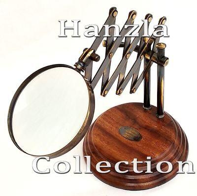 Vintage Desk Top Chainner Magnifying Glass on Wood Base Brass Antique Magnifier
