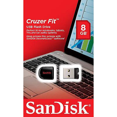 NEW Sandisk 8GB Cruzer FIT USB 2.0 Flash Mini Pen Drive SDCZ33-008G RETAIL PACK