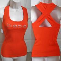 Bebe Orange Logo Rhinestone Cross Back Tank Top Small S