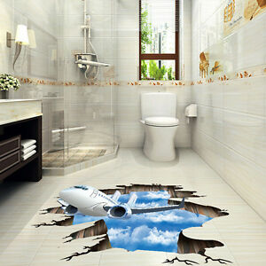 Image Is Loading UK Waterproof 3D Aircraft Tiger Bathroom Bedroom Floor  Part 93