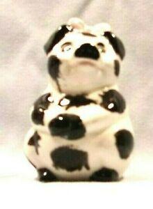 Pig I*378-17.239.2 Ceramic BLACK AND WHITE PIG W/ Pink Bow Pie Vent