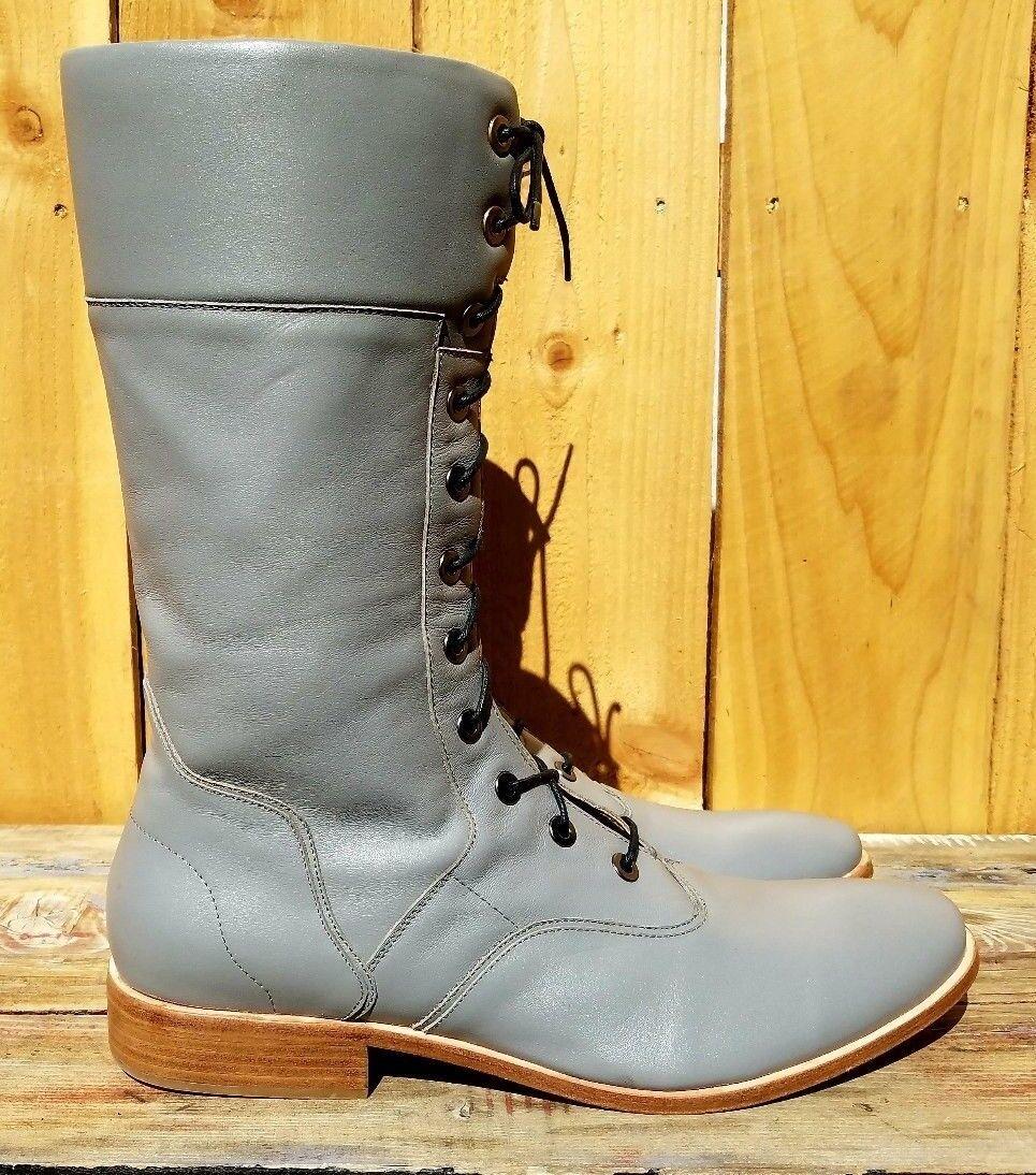 Nuevo HANDCRAFTED Portland o Haider & CO gris Cuero botas De Hombre Cremallera Encaje
