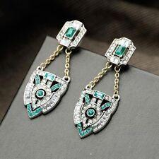 Anthropologie Verde Smeraldo Strass Scintillante Goccia Dangle Earrings NUOVI