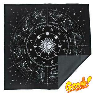 The Zodiac Tarot Cloth Decor Divination Cards Velveteen Square Tapestry Black!