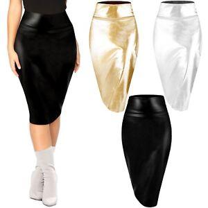 b2a27e080f Womens Metallic Midi Pencil Skirt Shiny Faux Leather High Waist Sexy ...
